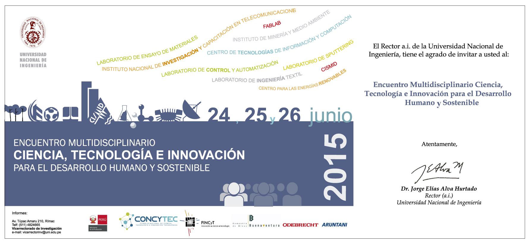 Programa del Encuentro Multidisciplinario Ciencia, Tecnología e Innovación Tecnológica para el Desarrollo Humano y Sostenible