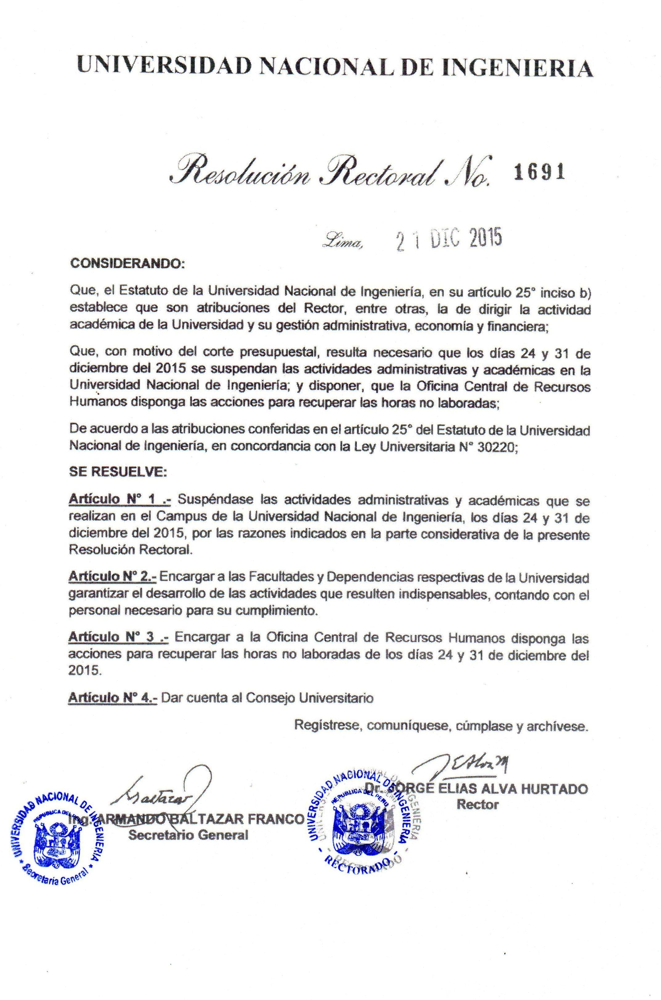 Universidad Nacional de Ingeniería - Suspensión de actividades ...