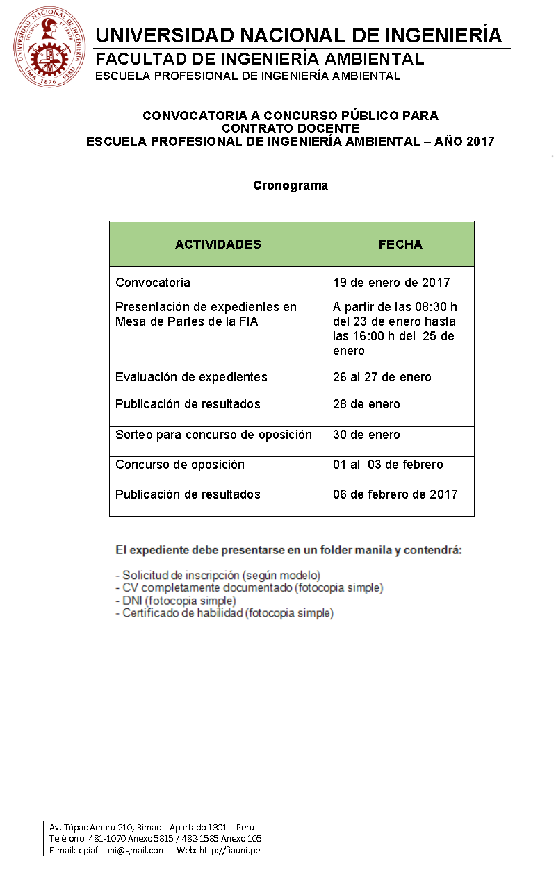 Universidad nacional de ingenier a convocatoria a for Concurso para plaza docente 2017