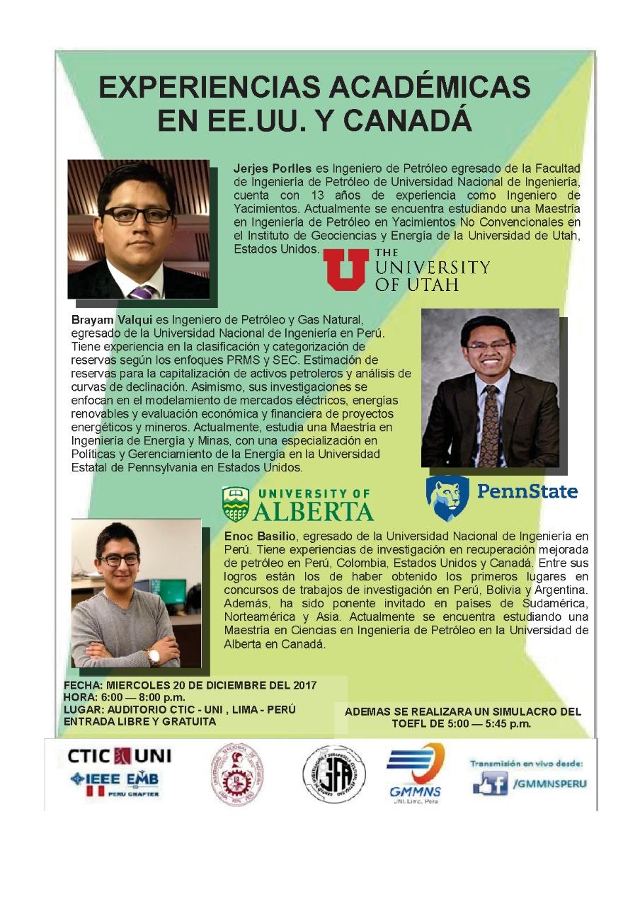 Universidad Nacional de Ingeniería - CONFERENCIA: EXPERIENCIAS ...