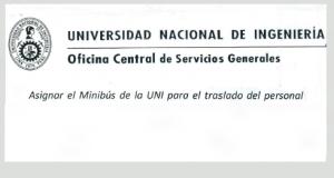 Oficio Circular N°016-2016-OCSG-UNI: Asignación de Minibus para Traslado del Personal UNI