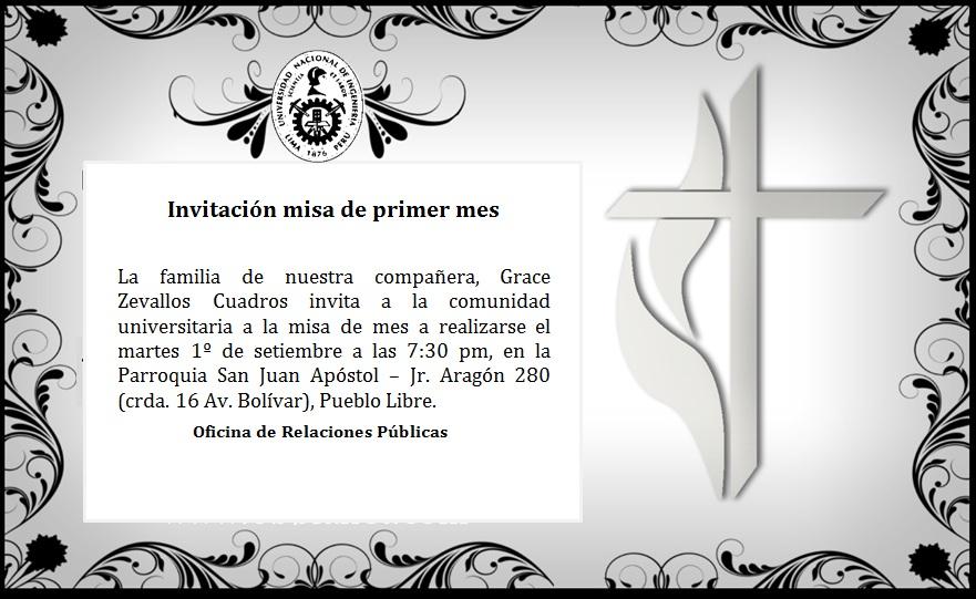 Invitacion Misa De Graduacion Institución