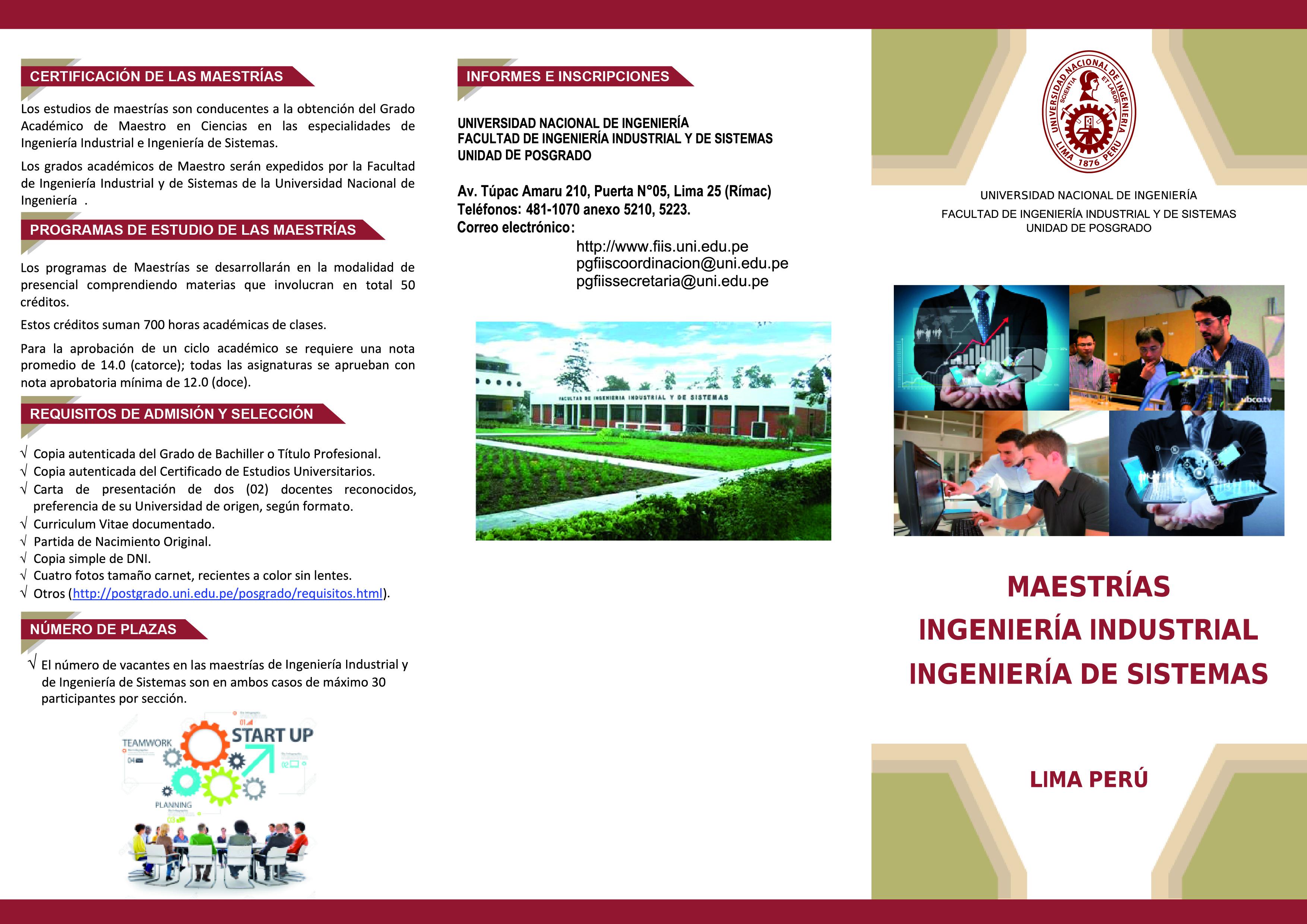 Universidad Nacional de Ingeniería - ADMISIÓN: MAESTRÍA FACULTAD DE ...